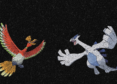 Pokemon, mosaic, Lugia, Ho-oh - random desktop wallpaper