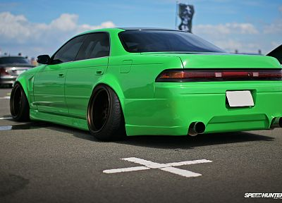 green, cars, Toyota, mark, lowriders, tuning, suspension, stance, JDM Japanese domestic market - random desktop wallpaper