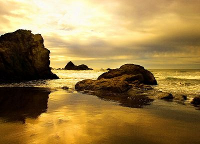 sunset, sand, rocks, beaches - random desktop wallpaper