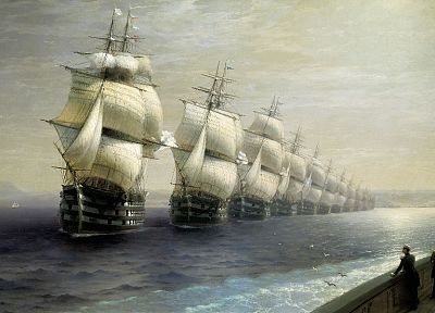 water, paintings, ocean, ships, artwork, vehicles, Ivan Aivazovsky, sea - related desktop wallpaper