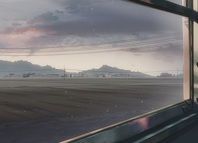 trains, Makoto Shinkai, 5 Centimeters Per Second, artwork, vehicles, anime, window panes - related desktop wallpaper