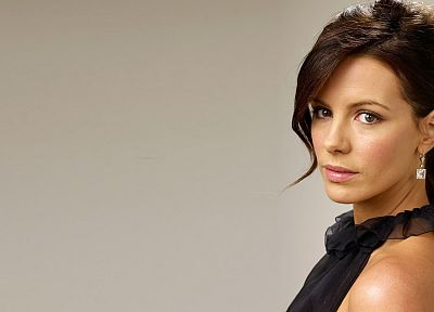 brunettes, women, Kate Beckinsale, simple background - random desktop wallpaper
