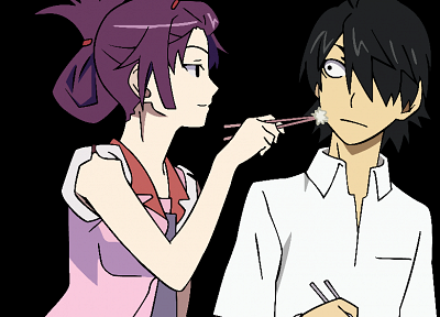 Bakemonogatari, transparent, purple hair, Senjougahara Hitagi, Monogatari series, anime vectors - random desktop wallpaper