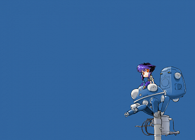Motoko Kusanagi, Tachikoma, Ghost in the Shell, simple background - desktop wallpaper