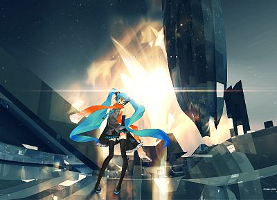 Vocaloid, Hatsune Miku, Redjuice, detached sleeves - desktop wallpaper