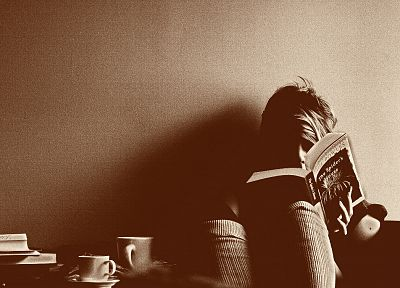 women, books, sepia - random desktop wallpaper