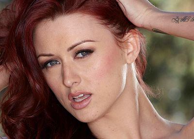 women, close-up, eyes, blue eyes, redheads, Karlie Montana, faces - random desktop wallpaper