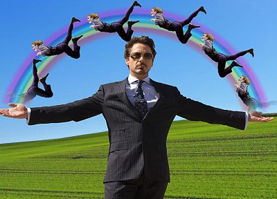 Iron Man, The Joker, funny, rainbows, Tony Stark, Robert Downey Jr - random desktop wallpaper