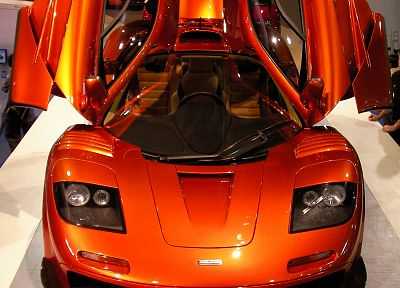 cars, front, vehicles, McLaren F1, McLaren, McLaren F1 LM, front view, open doors, orange cars - related desktop wallpaper
