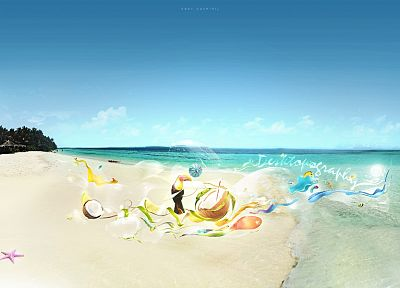 abstract, starfish, coconut, umbrellas, Desktopography, toucans, beaches - related desktop wallpaper