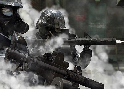soldiers, guns, military, riots, police, weapons, gas masks - desktop wallpaper