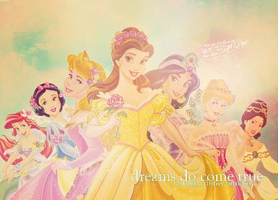 Disney Company, princess, Snow White, Mulan, The Little Mermaid, Aladdin, Sleeping Beauty, Beauty And The Beast, Disney Princesses, Belle (Disney) - related desktop wallpaper