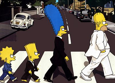 cartoons, Abbey Road, The Simpsons, The Beatles - random desktop wallpaper