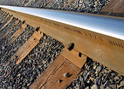 steel, railroad tracks, macro - random desktop wallpaper