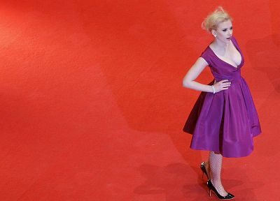 women, Scarlett Johansson, actress, high heels, purple dress - desktop wallpaper