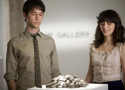 brunettes, women, actress, Zooey Deschanel, 500 Days Of Summer, actors, Joseph Gordon-Levitt - random desktop wallpaper