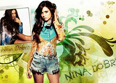 brunettes, women, Nina Dobrev - desktop wallpaper