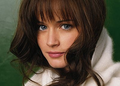 brunettes, women, close-up, Alexis Bledel, blue eyes, faces, bangs - desktop wallpaper
