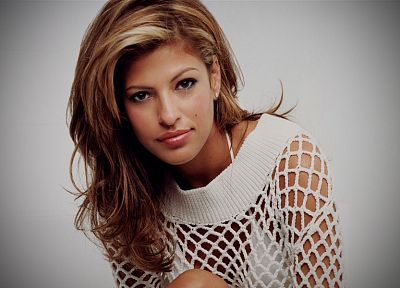 women, close-up, actress, Eva Mendes, faces, fishnet lingerie - desktop wallpaper