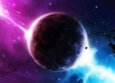 outer space, Twilight, galaxies, planets, DeviantART - random desktop wallpaper