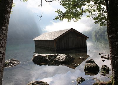 mountains, Germany, lakes, shed, Berchtesgaden - desktop wallpaper