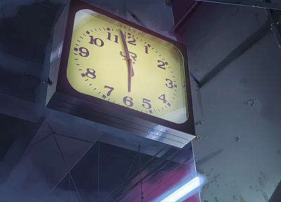 clocks, Makoto Shinkai, 5 Centimeters Per Second, anime - random desktop wallpaper
