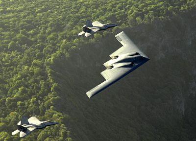aircraft, military, bomber, F-22 Raptor, planes, B-2 Spirit - related desktop wallpaper