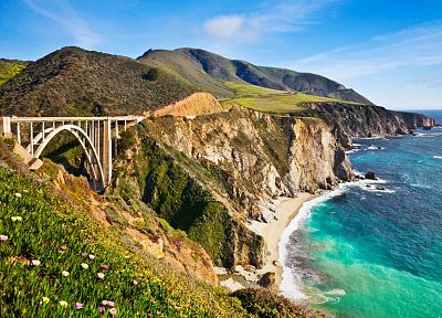 landscapes, coast, flowers, hills, bridges, USA, California, sea, big sur california - related desktop wallpaper