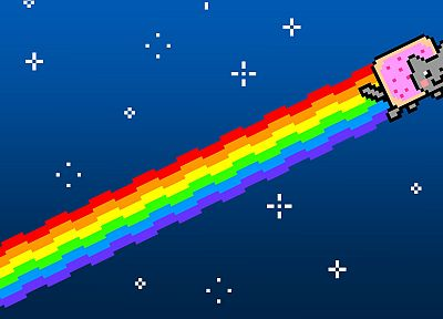 multicolor, stars, cats, stupidity, rainbows, pixels, artwork, Nyan Cat - desktop wallpaper