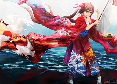 brunettes, water, clouds, flowers, birds, waves, long hair, brown eyes, kimono, flags, twintails, artwork, Japanese clothes, anime girls - related desktop wallpaper