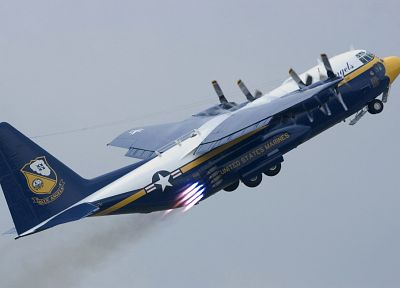 aircraft, US Navy, vehicles, C-130 Hercules, blue angels - desktop wallpaper