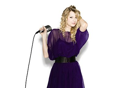 blondes, women, Taylor Swift, celebrity, purple dress, simple background, microphones, white background - related desktop wallpaper