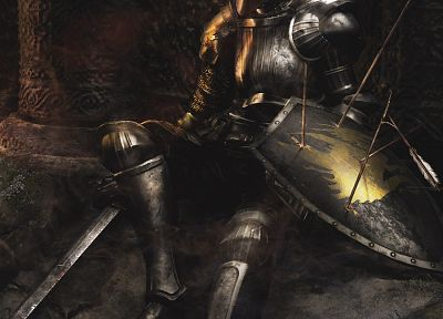 knights, dead, armor, shield, arrows, Demon's Souls - random desktop wallpaper