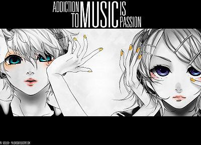 headphones, music, Vocaloid, blue eyes, Kagamine Rin, Kagamine Len, selective coloring, white hair, purple eyes, nails art, Migikata no Chou - random desktop wallpaper