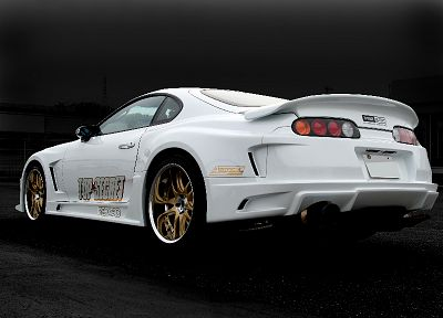 white, cars, Toyota, back view, vehicles, tuning, Toyota Supra, JDM Japanese domestic market - related desktop wallpaper