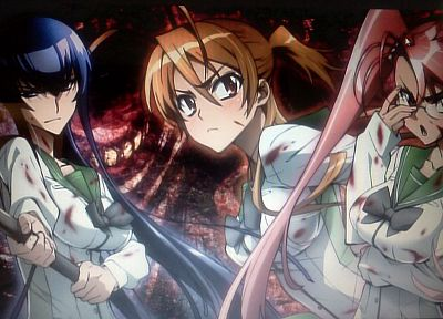 Highschool of the Dead, Miyamoto Rei, Busujima Saeko, Takagi Saya - random desktop wallpaper