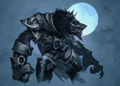 fantasy art, werewolves - random desktop wallpaper