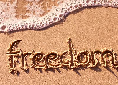 freedom, sand, writing, beaches - desktop wallpaper