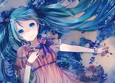 Vocaloid, dress, flowers, Hatsune Miku, blue eyes, tears, long hair, anime, flower petals, pink dress, anime girls - random desktop wallpaper