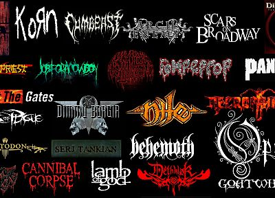 music, metal, dethklok, Opeth, soad, Disturbed, dimmu borgir, behemoth, Rock music, Arch Enemy, System Of A Down, Cannibal Corpse, Pantera, logo design - desktop wallpaper
