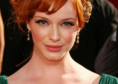 boobs, green, women, red, dress, redheads, Christina Hendricks - random desktop wallpaper