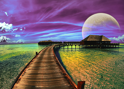 water, ocean, clouds, outer space, planets, science fiction, moons - random desktop wallpaper