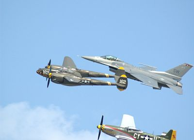 aircraft, falcon, F-16 Fighting Falcon, lightning, P-38 Lightning, P-51 Mustang - desktop wallpaper