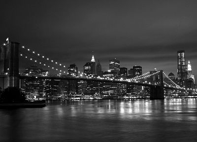 cityscapes, New York City, monochrome - random desktop wallpaper