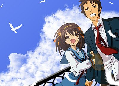 school uniforms, The Melancholy of Haruhi Suzumiya, Kyon, anime, Suzumiya Haruhi - desktop wallpaper