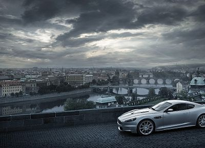 cityscapes, cars, Aston Martin, James Bond, bridges, buildings, roads, vehicles, cities, silver cars, DBS - related desktop wallpaper