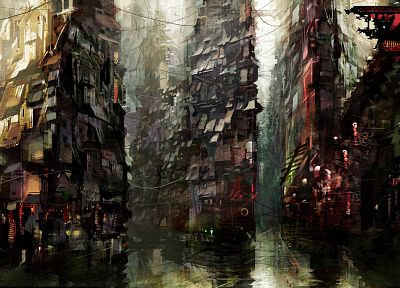 water, urban, concept art, artwork, canal, Daniel Dociu - related desktop wallpaper