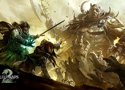 video games, monsters, knights, battles, artwork, Guild Wars 2, drawings - desktop wallpaper