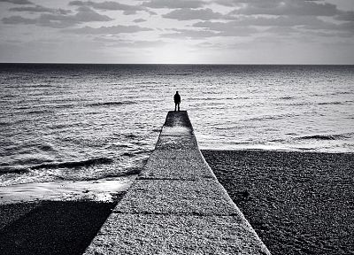 ocean, clouds, grayscale, sea, alone man, beaches - desktop wallpaper