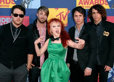 Hayley Williams, Paramore, redheads, celebrity, tongue, singers, music bands, bands, green dress - related desktop wallpaper